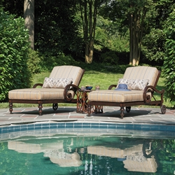 Tommy Bahama Black Sands Cast Aluminum Cushion Pool Chaise Set with Side Table - TB-BLACKSANDS-SET8