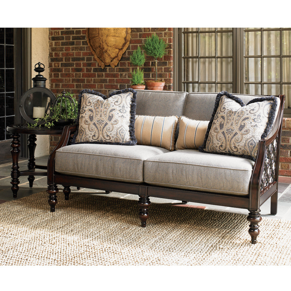 Tommy Bahama Black Sands Outdoor Love Seat and Side Table Set - TB-BLACKSANDS-SET9