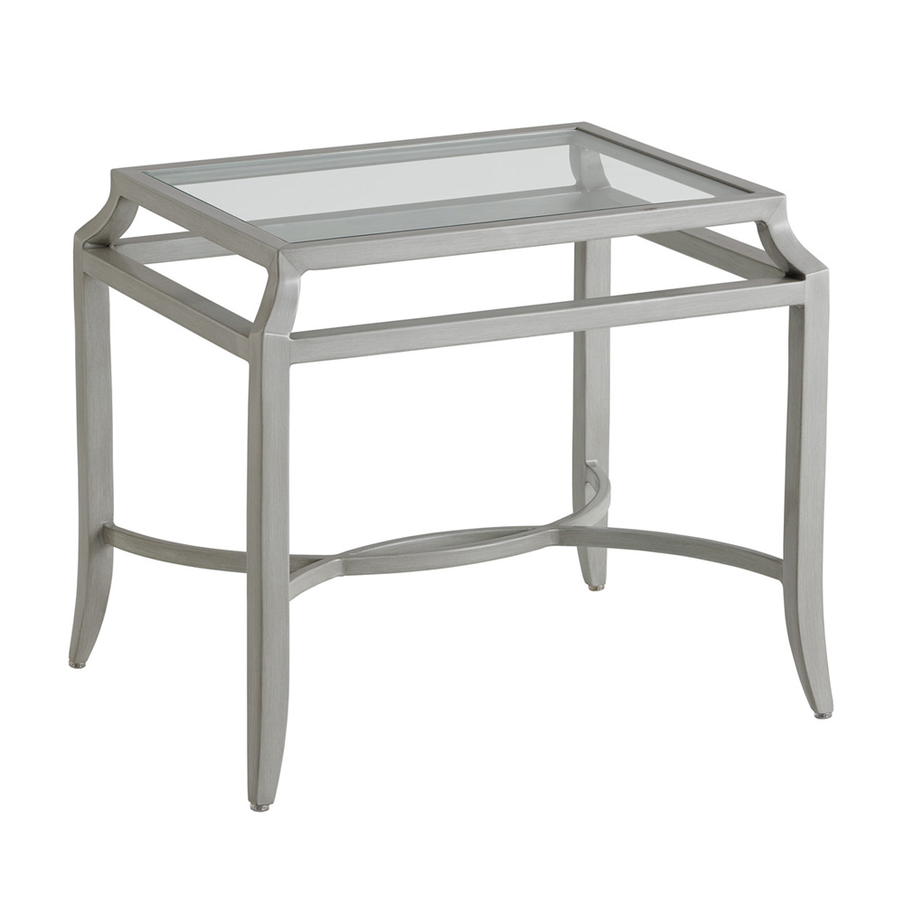 Tommy Bahama Silver Sands Rectangular End Table with Glass Top - 3945-955