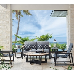 Tommy Bahama South Beach Cushion Outdoor Love Seat and Lounge Chair Patio Set - TB-SOUTHBEACH-SET2