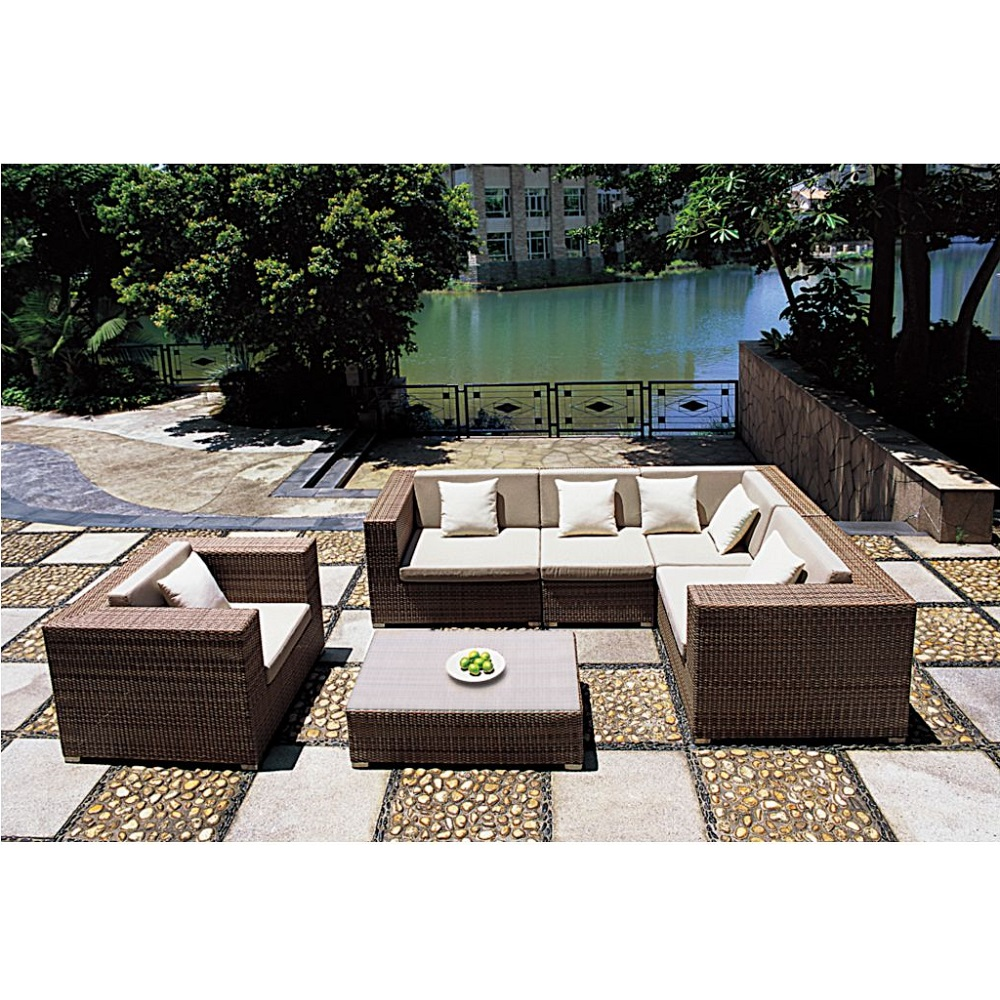 Tropitone Arzo Woven Cushion Outdoor Sectional Set with Lounge Chair and Coffee Table - TT-ARZO-SET1