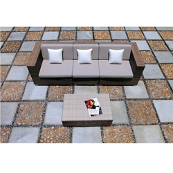 Tropitone Arzo Woven Cushion Outdoor Sectional Sofa with Coffee Table - TT-ARZO-SET5