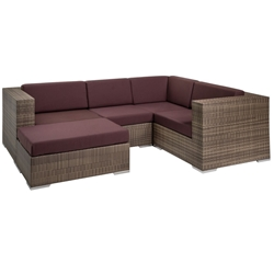 Tropitone Arzo Woven Cushion Outdoor Sectional Set with Ottoman - TT-ARZO-SET8