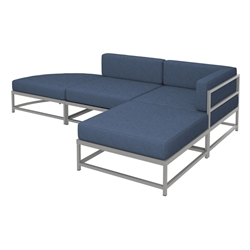 Tropitone Cabana Club Outdoor Compact Sectional Set with two Ottomans - TT-CABANACLUB-SET15