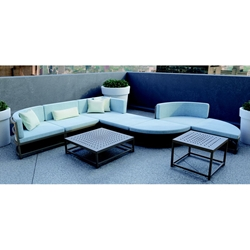 Tropitone Cabana Club Curved Corner Outdoor Sectional with Coffee and Accent Table - TT-CABANACLUB-SET8
