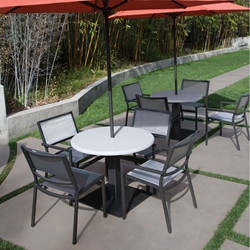 Tropitone Cabana Club Sling Outdoor Dining Set for 4 with Umbrella Top Table - TT-CABANACLUB-SET20