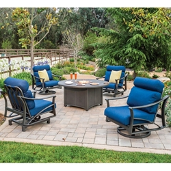 Tropitone Corsica Cushion Outdoor Swivel Lounger Set with Fire Pit - TT-CORSICA-SET2