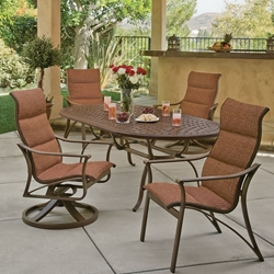 Tropitone Corsica Padded Sling Outdoor Dining Set for 4 - TT-CORSICA-SET7