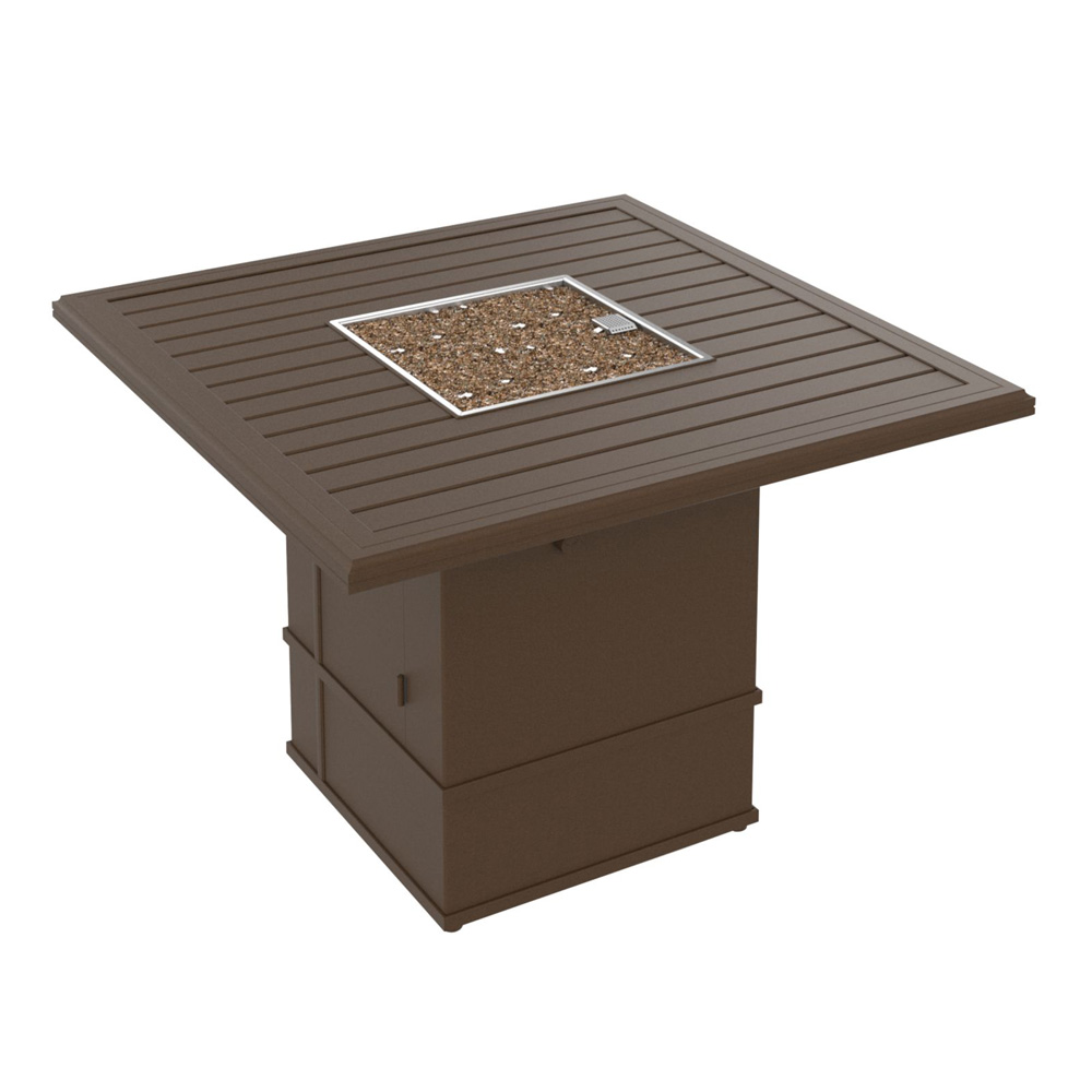 "Tropitone Banchetto 48"" Square Fire Pit Counter Height Table - 34"" Height - 401658FPM-SFP15RSR-34"