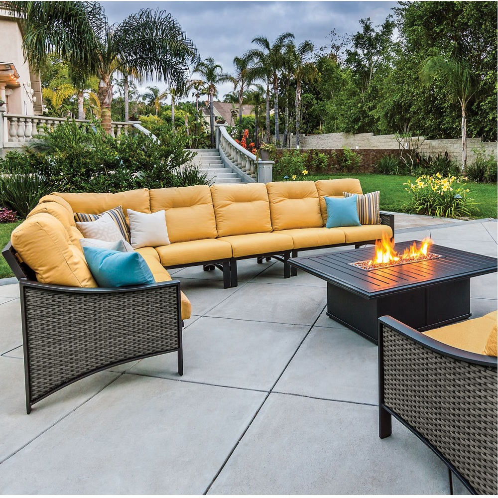 Tropitone Kenzo Woven Cushion Outdoor Sectional Set with Fire Pit. - TT-KENZO-SET12