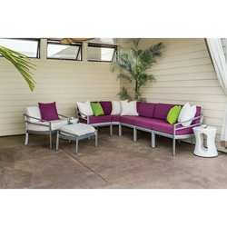 Tropitone Kor Cushion Outdoor Sectional Set with Radius Accessory Tables - TT-KOR-SET2