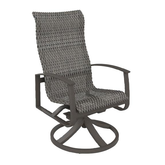 Tropitone Mainsail Woven High Back Swivel Rocker Dining Chair 181770ws