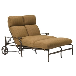 Tropitone Montreux Cushion Double Chaise Lounge with Arms and Wheels - 720275W
