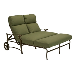 Tropitone Montreux II Cushion Double Chaise Lounge with  Arms and Wheels - 721375W