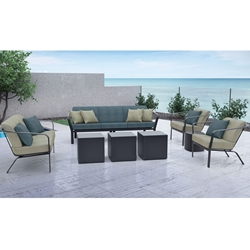 Tropitone Open Cushion Outdoor Furniture Set with Square Cube Tables - TT-OPEN-SET2