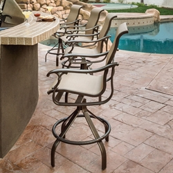 Tropitone Ravello Sling Outdoor Bar Stool Set for 4 - TT-RAVELLO-SET9
