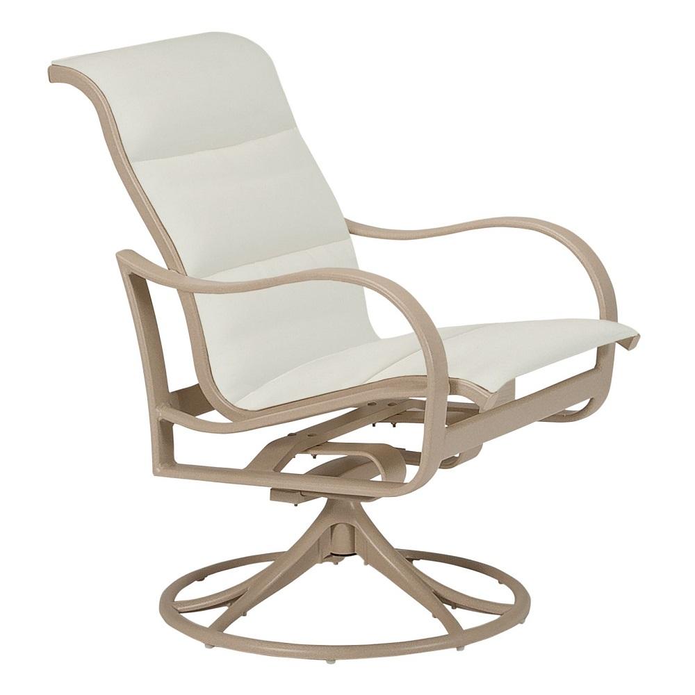 Tropitone Shoreline Padded Sling Swivel Rocker Dining Chair 960269ps