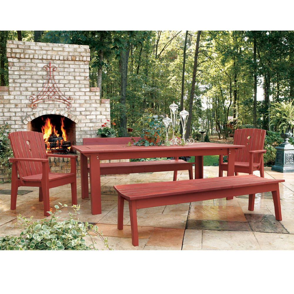 Uwharrie Chair Behren's Large Dining Set with Benches - UW-BEHRENS-SET2