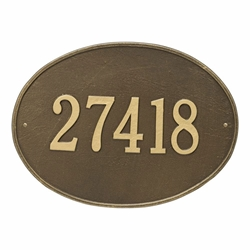 Whitehall Hawthorne Oval Estate Wall Address Plaque - One Line