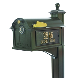 Whitehall Balmoral Mailbox Side Plaques, Monogram & Post Package in Bronze