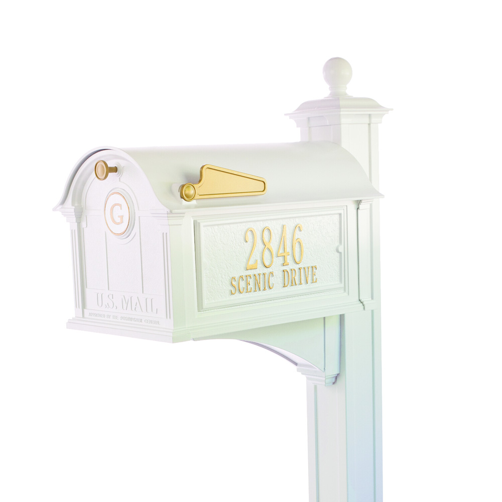Whitehall Balmoral Mailbox Side Plaques, Monogram & Post Package- White