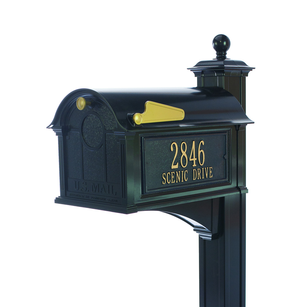 Whitehall Balmoral Mailbox Side Plaques, Post Package in Black
