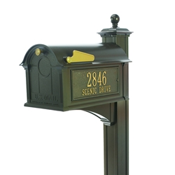 Whitehall Balmoral Mailbox Side Plaques, Post Package in Bronze