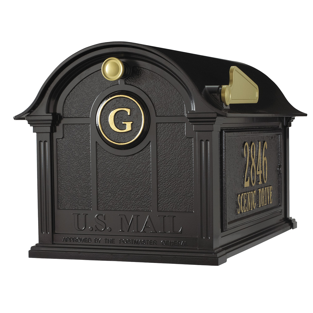 Whitehall Balmoral Mailbox Side Plaques and Monogram Package in Black