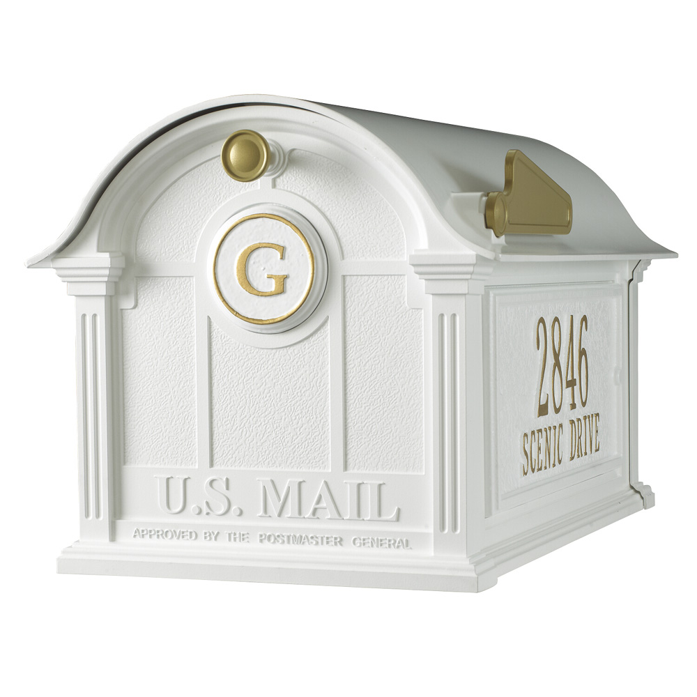 Whitehall Balmoral Mailbox Side Plaques and Monogram Package in White