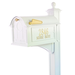 Whitehall Balmoral Mailbox Side Plaques, Post Package in White