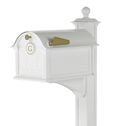 Whitehall Balmoral Mailbox Monogram & Post Package in White