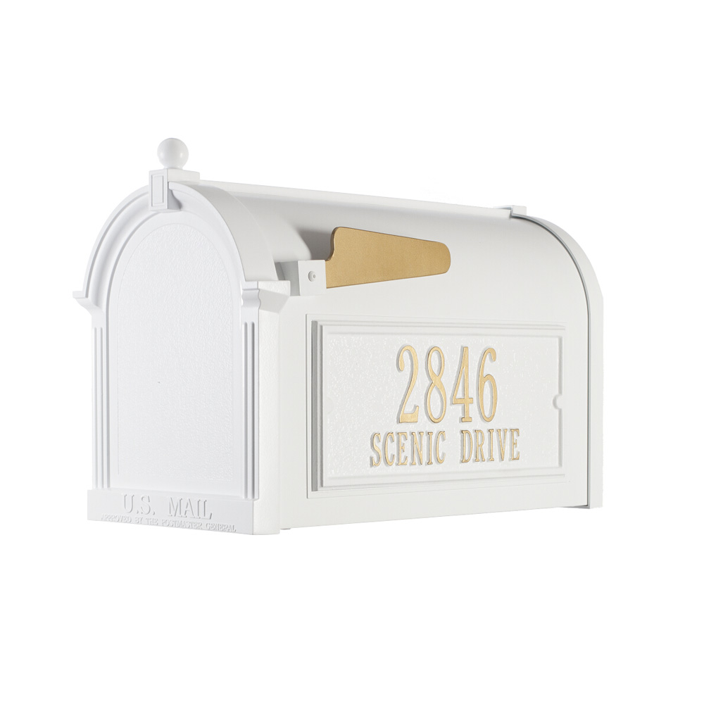 Whitehall Capitol Mailbox Side Plaque Package in White