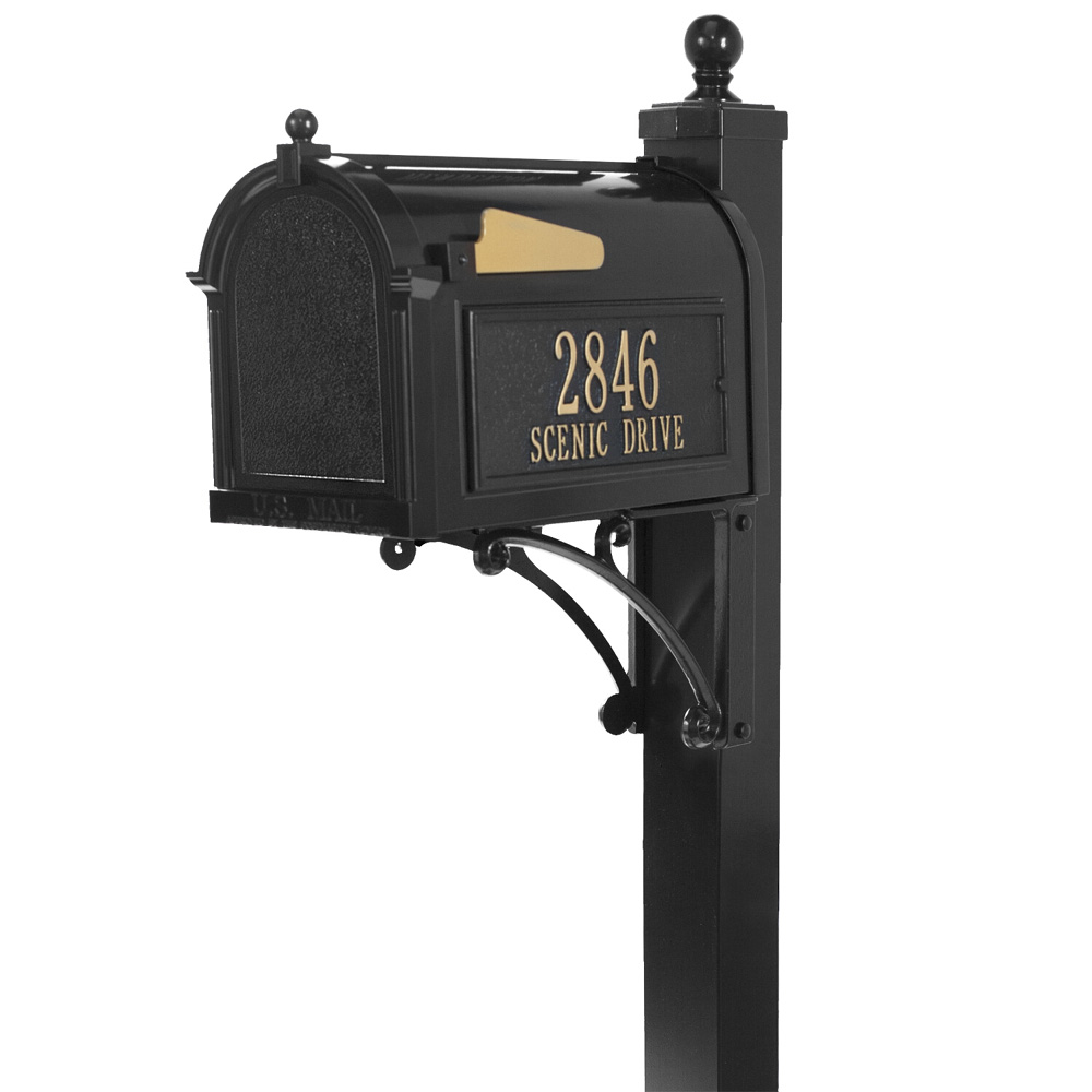 Whitehall Deluxe Capitol Mailbox Package in Black