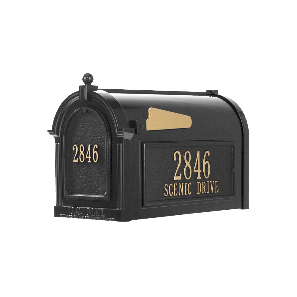 Whitehall Capitol Mailbox Side Plaques and Door Plaque Package in Black
