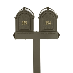 Whitehall Capitol Dual Mailbox Package in Bronze
