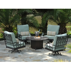 Windham Provence Cast Aluminum Swivel Rockers with Fire Pit Table - WN-PROVENCE-SET2