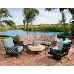 Windham Savannah Cast Aluminum Curved Sofa and Spring Club Chair Set - WN-SAVANNAH-SET1