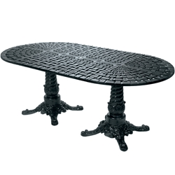 "Windham Woven 112"" Oval Dining Table With Pedestal Base - WO7011234"