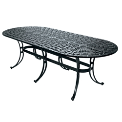 "Windham Woven 112"" Oval Umbrella Dining Table With Scroll Base - WO7011214"