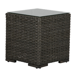 "Windward Georgia Wicker 20"" Square Side Table with Glass Top - WT20W43"
