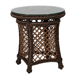 "Windward Hannah Woven Wicker 20"" Round Side Table with Glass Top - WT20W66"