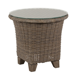 "Windward Oxford Wicker 24"" Side Table with Clear Glass Top - KD24W52G"