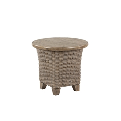 "Windward Oxford Wicker 24"" Side Table with Beechwood Tile Top - KD24W52T"