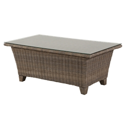 "Windward Oxford Wicker 26"" x 48"" Coffee Table with Clear Glass Top - KD2648W52G"