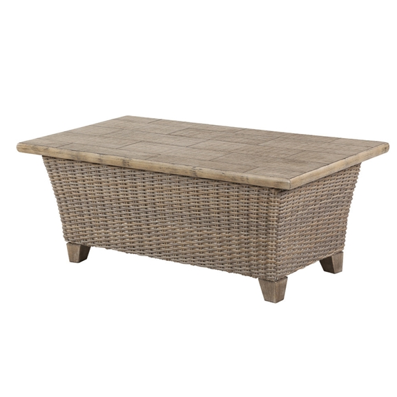 Windward Oxford Wicker 26 X 48 Coffee Table With Beechwood Tile Top