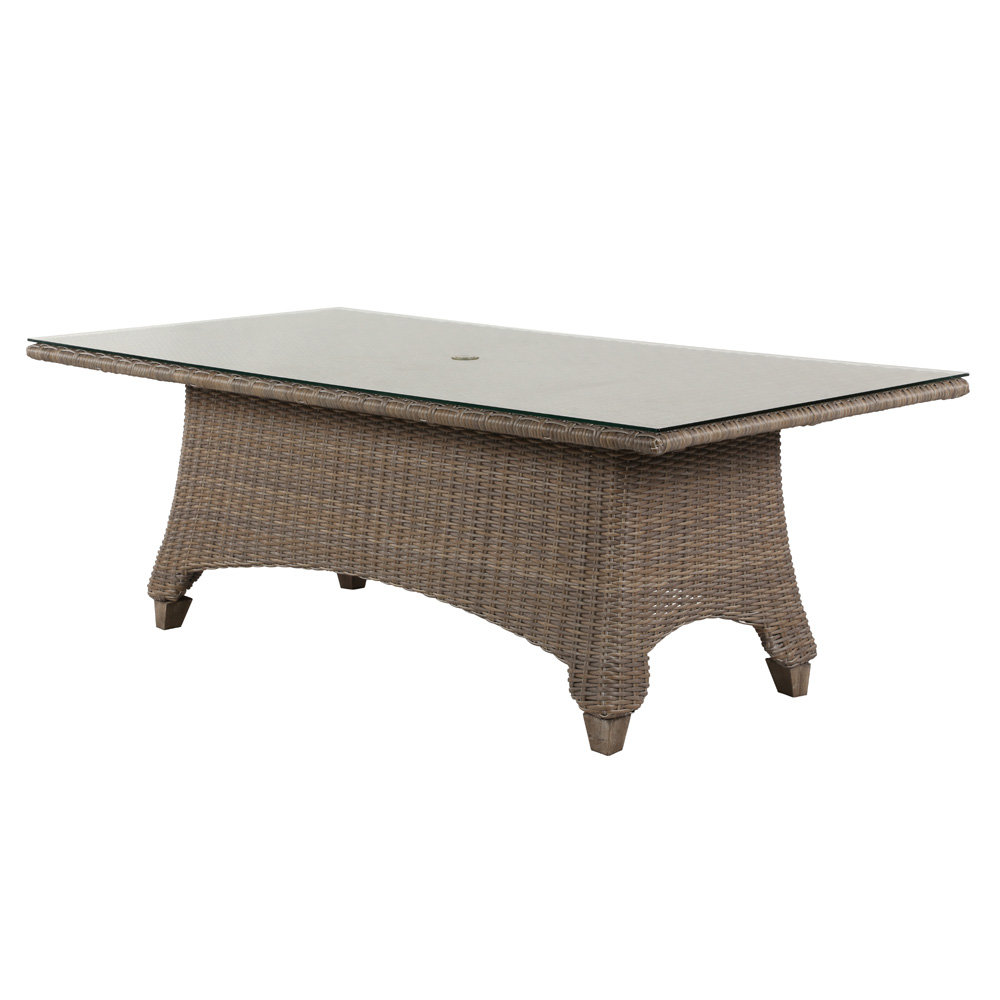 Windward Oxford Wicker 42 X 84 Dining Table With Clear Glass Top And Umbrella Hole Kd4284w52gu
