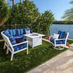 Windward Sanibel MGP Cushion Outdoor Sectional Set with Fire Table - WW-SANIBEL-SET4