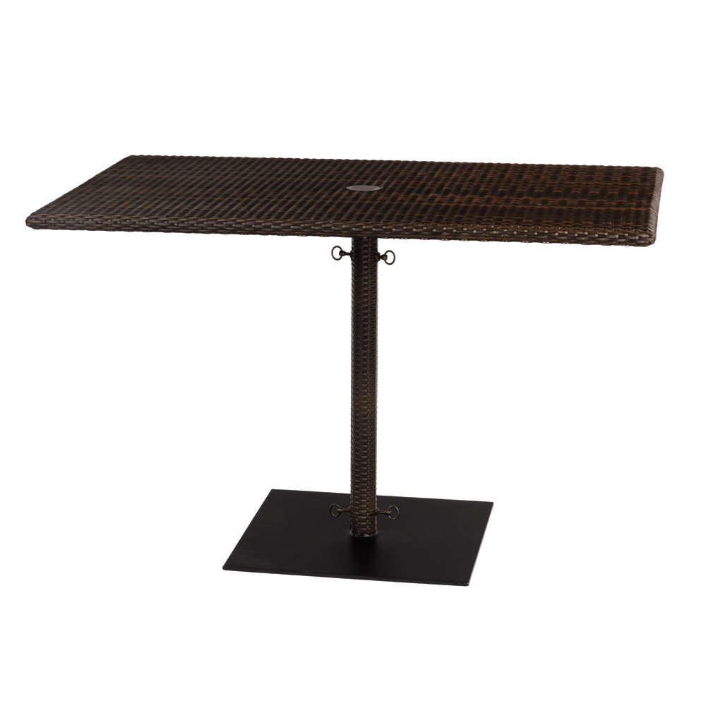 Woodard All Weather Wicker Rectangular Umbrella Dining Table with Weighted Base - S593738