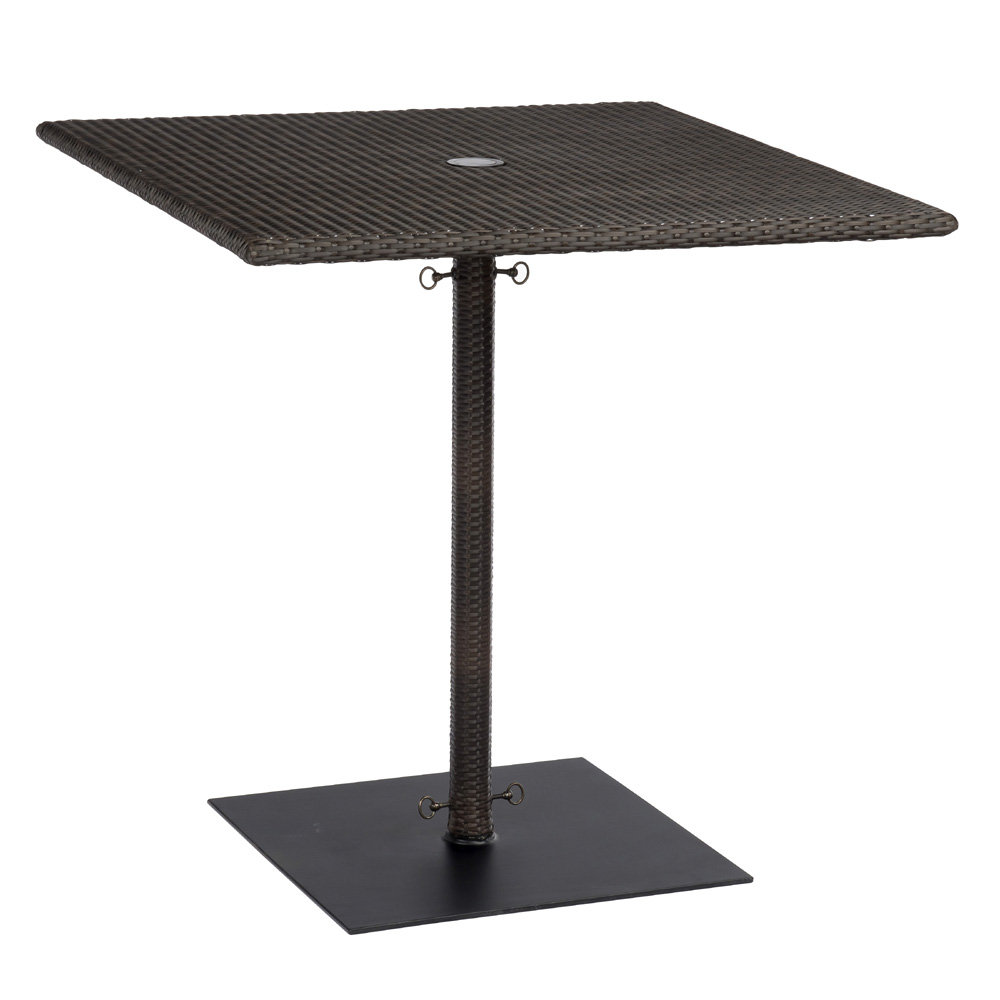 Woodard All Weather Wicker Square Umbrella Counter Height Table with Weighted Base - S593836