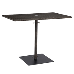 Woodard All Weather Wicker Rectangular Umbrella Counter Height Table with Weighted Base - S593838